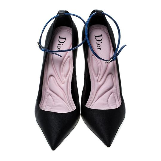 Dior Pointed Toe Ankle Strap Leather Black Pumps