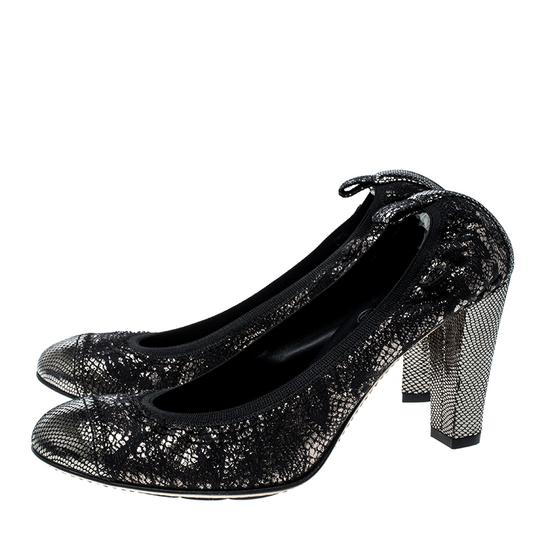 Chanel Silver Leather Rubber Metallic Pumps