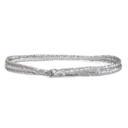 Preload https://img-static.tradesy.com/item/23973187/bcbgmaxazria-silver-braided-double-wrap-vegan-leather-size-medium-waist-belt-0-0-540-540.jpg