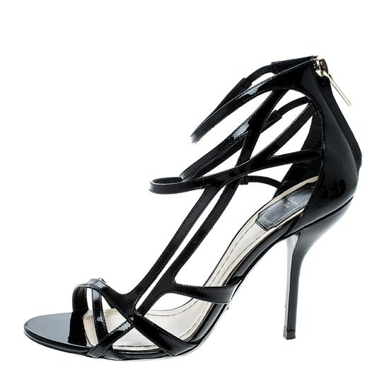 Dior Patent Leather Strappy Leather Black Sandals