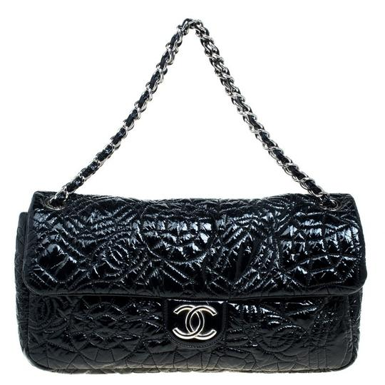 Chanel Patent Leather Satin Tote in Black