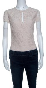 Alice + Olivia Floral Lace Polyester Top Beige