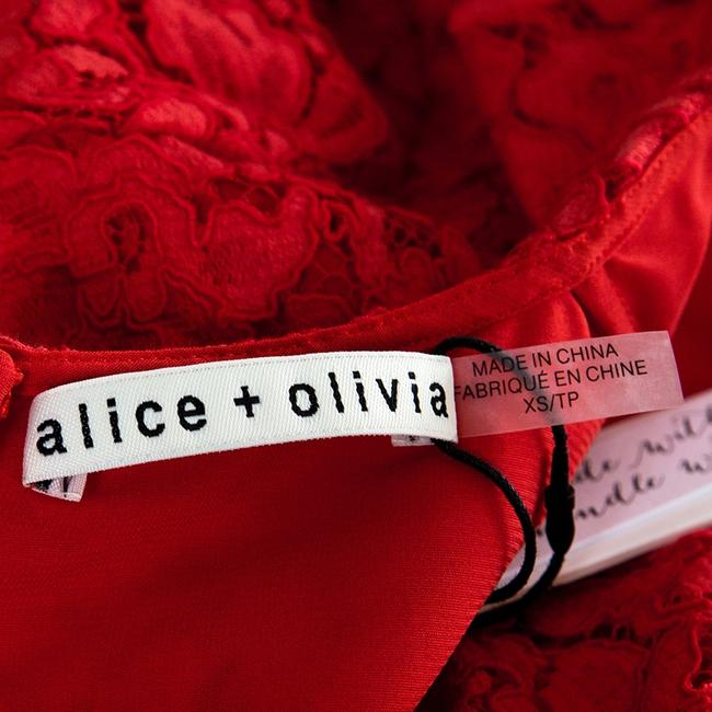 Alice + Olivia Floral Lace Crop Polyester Red Halter Top
