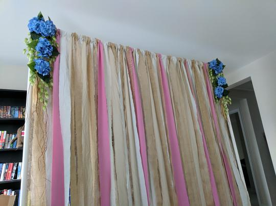 Burlap and Dusty Rose Backdrop For Photoboth Desset Table Etc. Reception Decoration