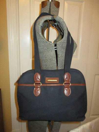 Etienne Aigner Man Made Vegan Faux Leather Canvas Tote Satchel in black & brown