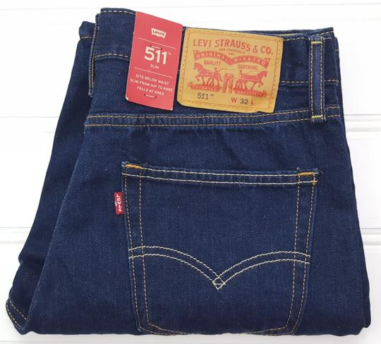 Preload https://item3.tradesy.com/images/levi-s-blue-jean-32-slim-511-dark-raw-cotton-denim-new-mens-shirt-23973532-0-0.jpg?width=440&height=440