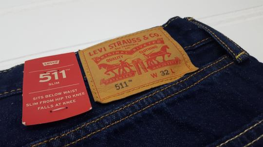 Levi's Blue Jean 32 Slim 511 Dark Raw Cotton Denim New Mens Shirt