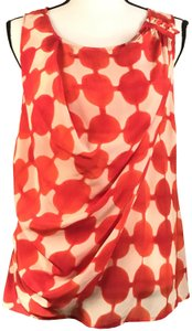 Anthropologie Silk Sleeveless Wrap Maeve Top Coral, Off-white