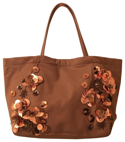 Preload https://item5.tradesy.com/images/tory-burch-rose-gold-embellished-floral-nylon-tote-23973554-0-1.jpg?width=440&height=440