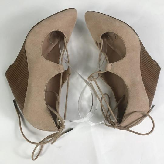 Charles David Suede Lace Up Tan Wedges