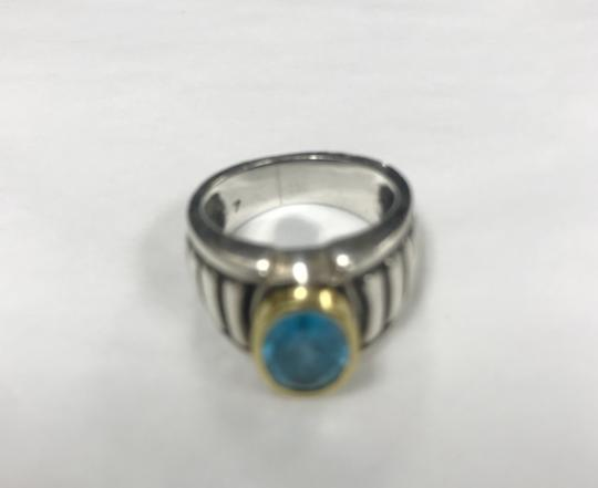 Lagos Lagos Caviar 18k Yellow Gold & Sterling Silver Blue Topaz Ring