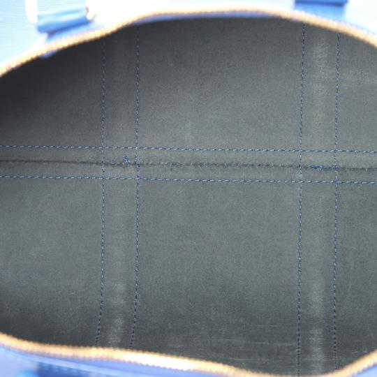 Louis Vuitton Keepall Leather blue Travel Bag
