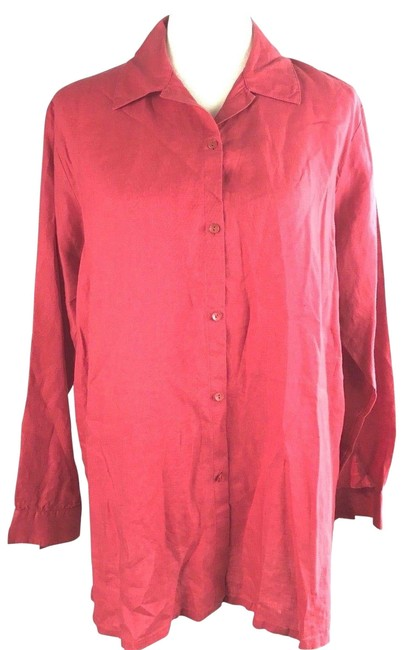 Preload https://item4.tradesy.com/images/eileen-fisher-red-irish-linen-button-down-top-size-8-m-23973713-0-1.jpg?width=400&height=650