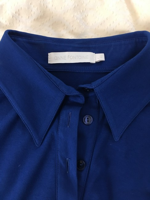 Anne Fontaine Jersey Button Down Shirt Royal blue