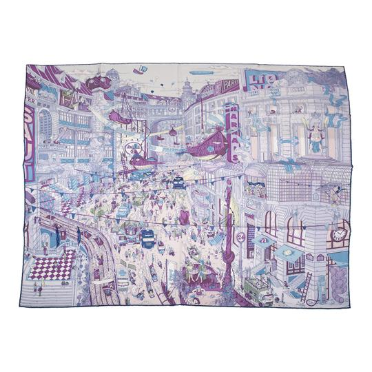 Preload https://img-static.tradesy.com/item/23973795/hermes-purple-le-grand-prix-du-faubourg-silk-twill-90cm-scarfwrap-0-0-540-540.jpg