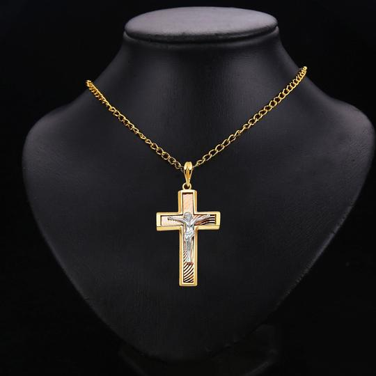 TD Collections 14K Tri Color Gold Religious Crucifix Pendant