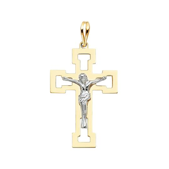 Preload https://item2.tradesy.com/images/two-tone-gold-14k-religious-crucifix-pendant-charm-23973821-0-0.jpg?width=440&height=440