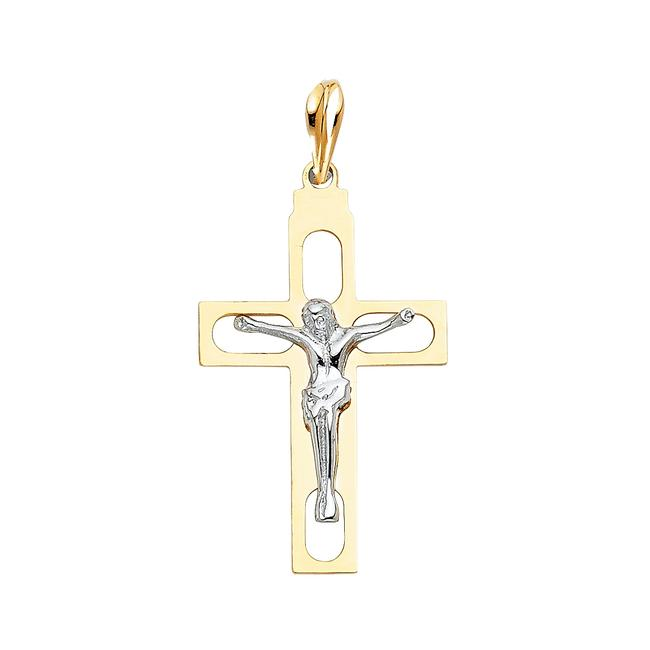 Unbranded Two Tone Gold 14k Religious Crucifix Pendant Charm Unbranded Two Tone Gold 14k Religious Crucifix Pendant Charm Image 1