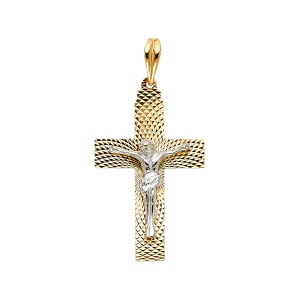 TD Collections 14K Two Tone Gold Religious Crucifix Pendant