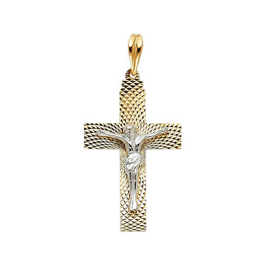 Preload https://item3.tradesy.com/images/two-tone-gold-14k-religious-crucifix-pendant-charm-23973852-0-0.jpg?width=440&height=440
