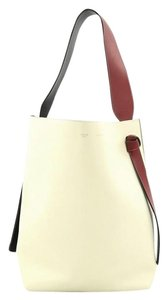 Céline Leather Tote in Off-white, Green and Red