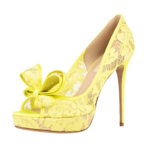 Valentino Mesh Lace Paltform Open Toe Yellow Pumps
