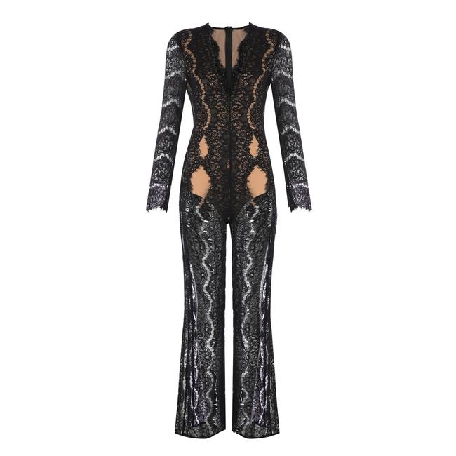 DIOR BELLA Black Lace Split Leg Jumpsuit