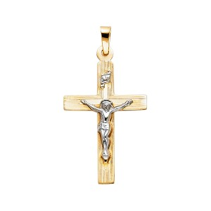 TD Collections 14K Yellow Gold Religious Crucifix Pendant
