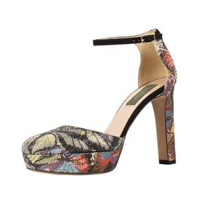 Valentino Rhinestone Leather Floral Multi-Color Platforms
