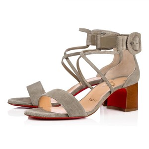 Christian Louboutin Choca Low Heels Suede Argile, green, gray Sandals