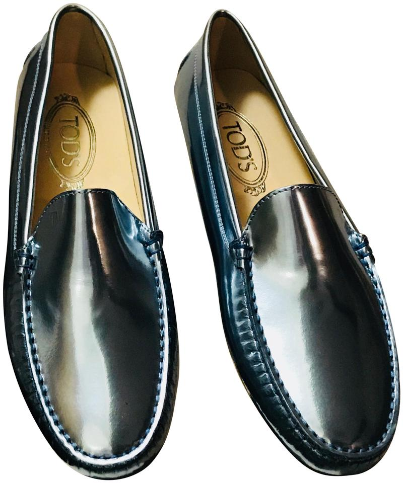 e11bef951b4 Tod s Metallic Blue Gommini Patent Leather Drivers  Mocassins Loafers Flats.  Size  EU 40 (Approx.