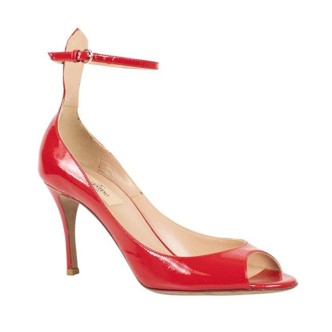 Item - Red Ed with Ankle Strap Open Toe Patent Leather Pumps Size US 8 Regular (M, B)