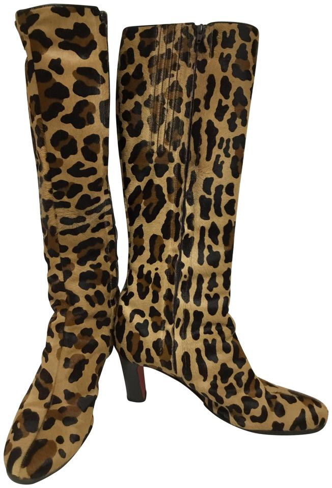 0d002e7f760a Christian Louboutin Brown Leopard Printed Pony Skin Boots Booties ...