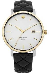 Kate Spade KSWB0125 Women's Black Leather Band With White Analog Dial Watch