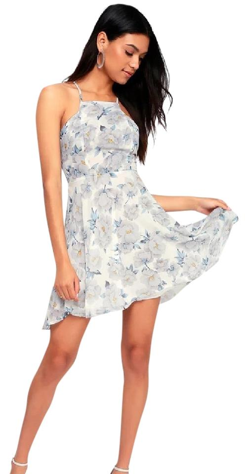 64fe838940d5 Lulu s White Blue Keep On Growing Floral Print Skater Style 605152 Cocktail  Dress. Size  8 ...