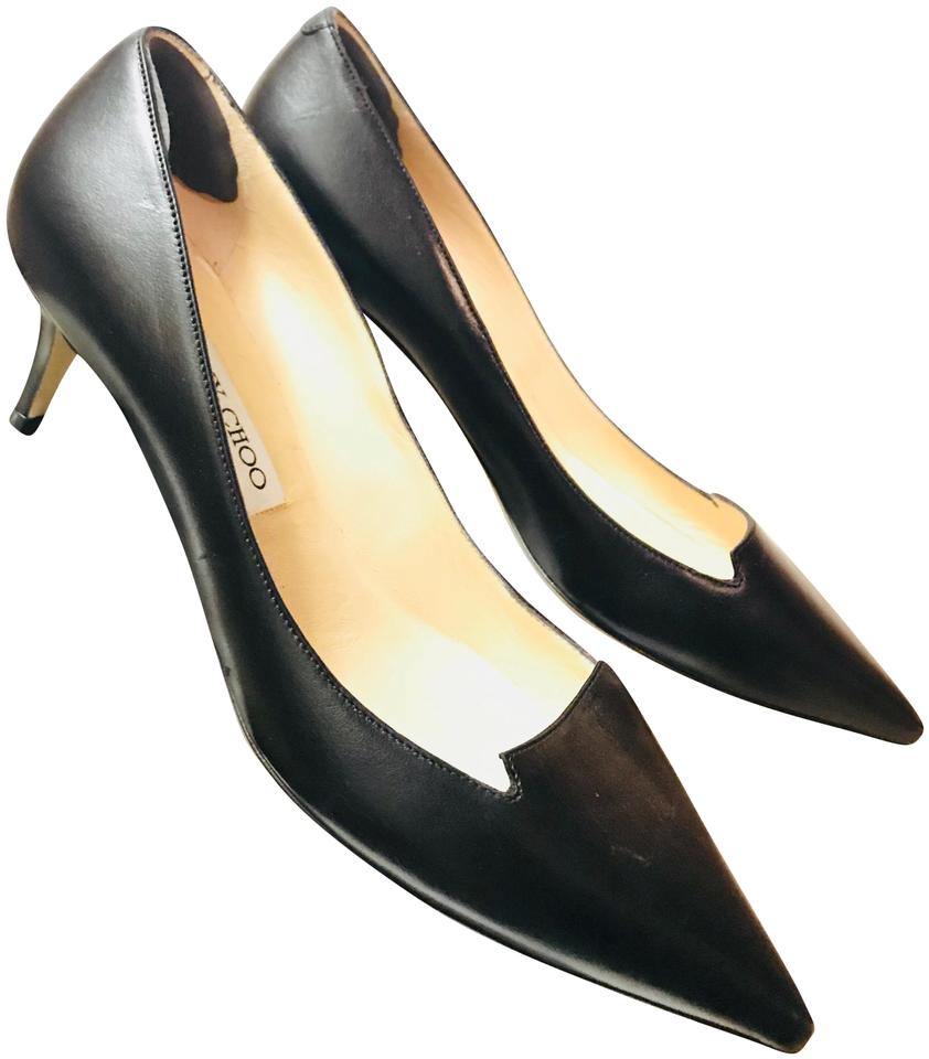 1aa4a23a5fe Jimmy Choo Black Allure Calf Leather Pointed Toe Kitten Low Heels Pumps