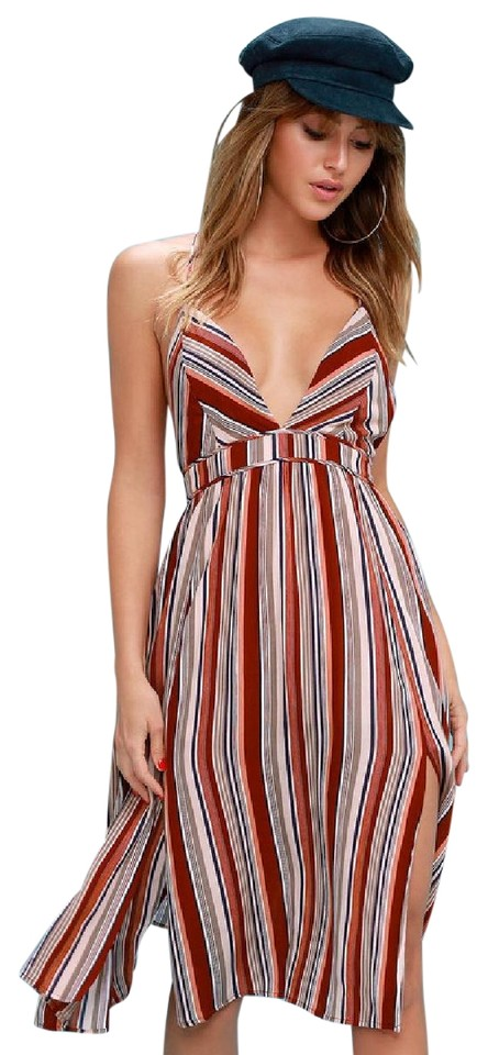 af1b1c4ccdc2 Lulu*s Rust Red Montara Striped Backless Style 558682 Short Casual Dress