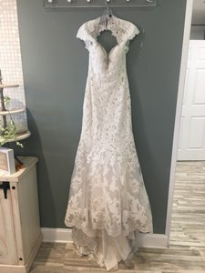 Allure Bridals Cafe/Ivory/Silver Lace 9318 Formal Wedding Dress Size 4 (S)