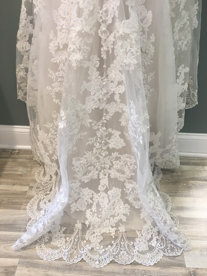 Allure Bridals Cafe/Ivory/Silver Lace 9318 Formal Wedding Dress Size 4 (S) Image 2