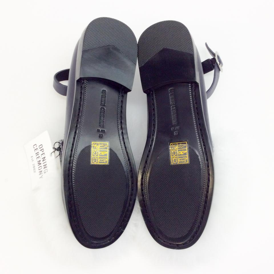 8e1570e9288 Opening Ceremony Navy Blue   White Ryder Ankle Strap Loafer Flats ...
