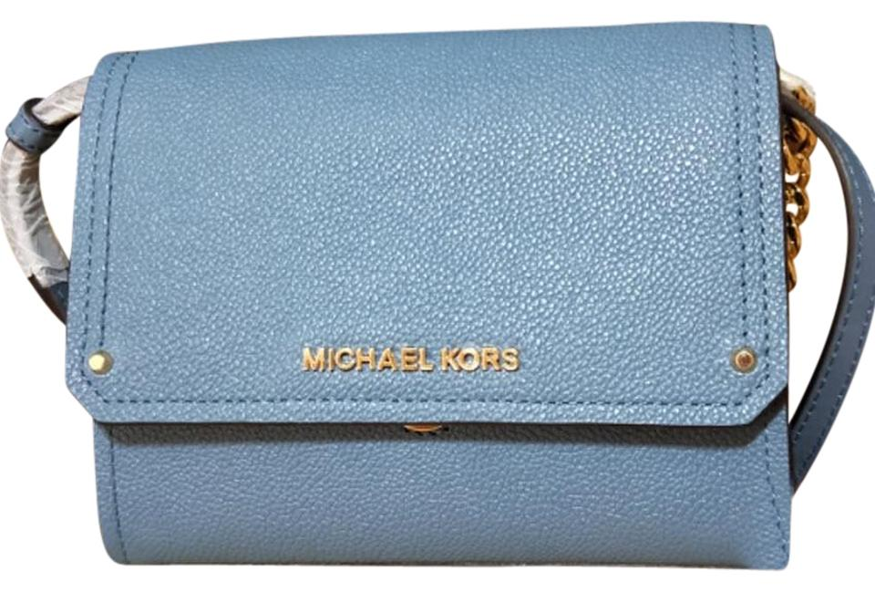 38da3776de7c Michael Kors Hayes Small Convertible Clutch Blue Leather Cross Body ...