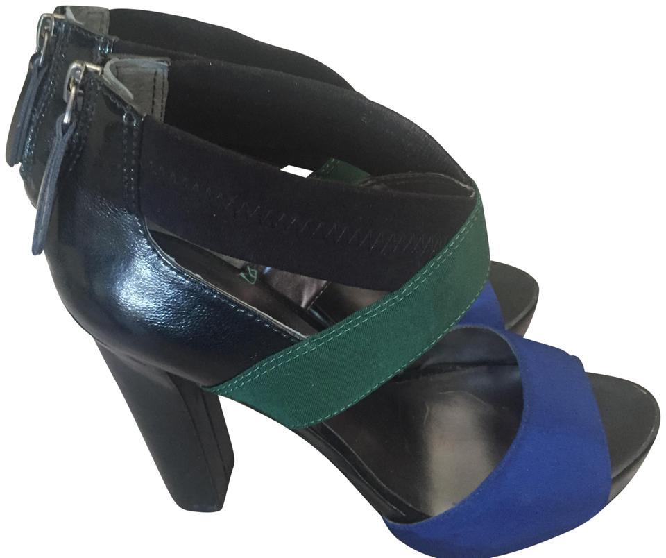 10a8073618ae Nine West Party Cloth Top Black blue green Sandals Image 0 ...