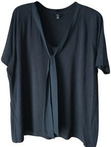 Talbots Pullover Style Self-tie Bow Short Sleeves Rayon/Spandex Top Black/Petite XL
