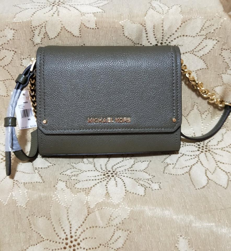 0f84498feba4 Michael Kors Clutch Hayes Small Convertible Olive Green Leather ...