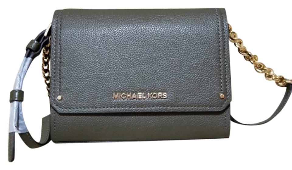 7ca8cdf9f245 Michael Kors Hayes Small Convertible Clutch Olive Leather Cross Body ...