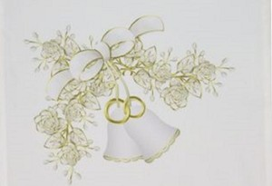 White Garden Flag Bells and Flowers 12 By 18 Ceremony Decoration