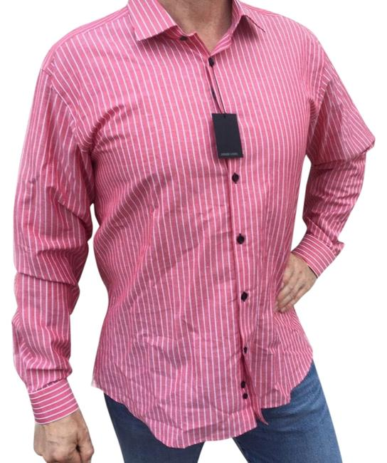 Jared Lang Coral New Striped Button-down Top Size 22 (Plus 2x) Jared Lang Coral New Striped Button-down Top Size 22 (Plus 2x) Image 1