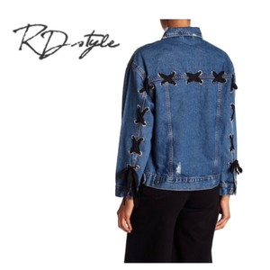 RD Style Lace Up Details Button Closure Womens Jean Jacket