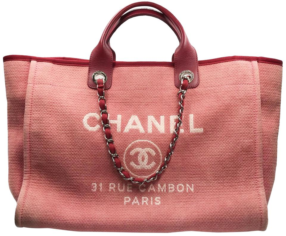 29ed774f5 Chanel Deauville Bag Large Red Canvas Tote - Tradesy