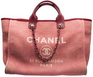 Chanel Blue Tote in Red